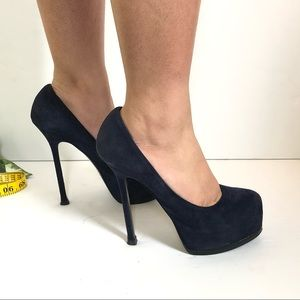 Ysl Blue Suede Round Toe Platform Pump Heels